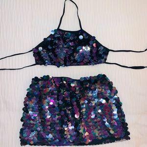Fashion nova sequin purple Rave outfit